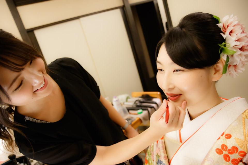 京都結婚式-和装ヘアメイクシーン